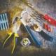 Repair tools - hammer, screwdriver, plyers